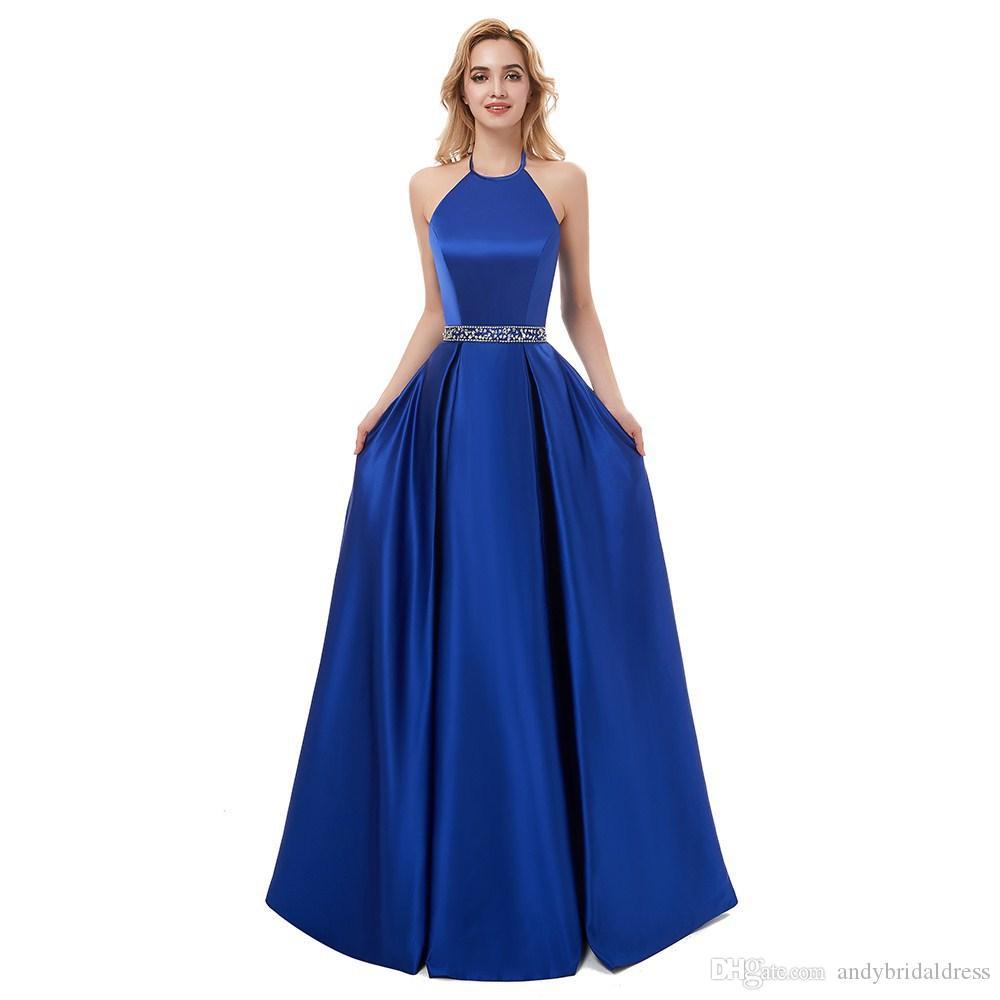 Новый Холтер Royal Blue атласная Пром платья 2020 Sexy Backless Длинные вечерние платья вечерние платья партии Узелок Назад