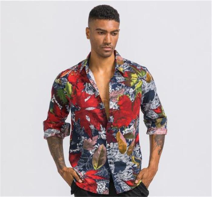 3D-Muster zufällige Männer Shirts Ahornblatt Tie-dye Männer T-Shirts Hawaii Artmens Designer Ferien dünne Hemden