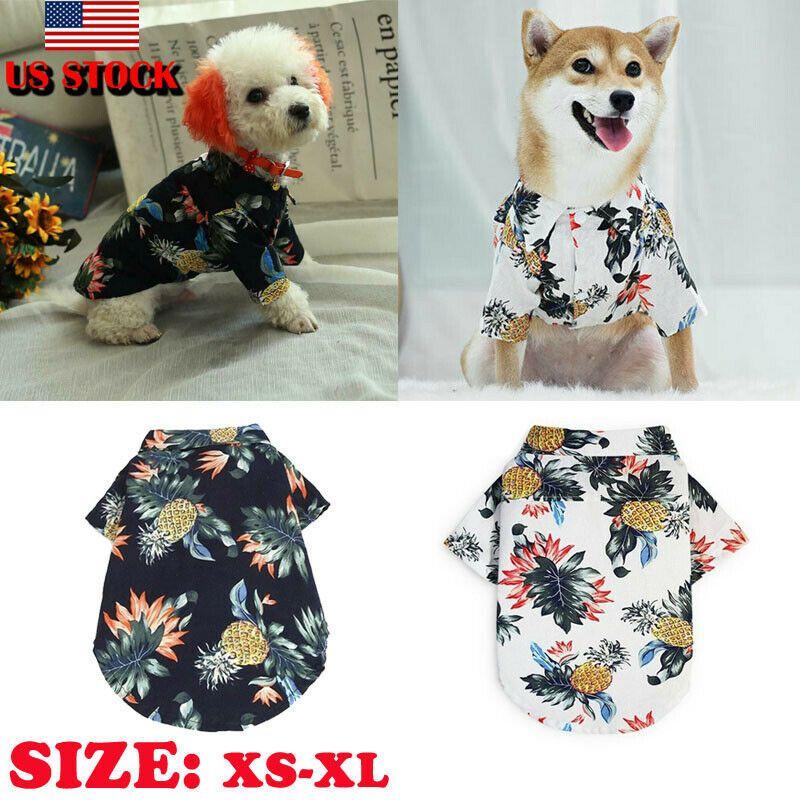 Perrito del estilo hawaiano verano impresión camisa del animal doméstico del gato ropa gatito chaleco de la camiseta