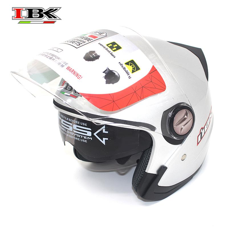 IBK Motorcycle Helmets Electric Bicycle Scooter Casco Casque Unisex 3/4 Anti-UV Open Face Double Visor four season Helmet