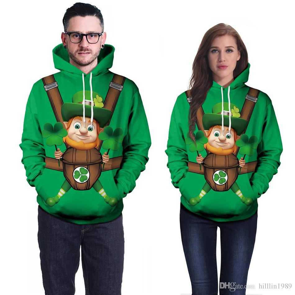 캐주얼 홀리데이 St. Patricks Day Sweatshirt 패션 토끼풀 커플 탑스 Sweetheart Lover Streetwear Green Leprechaun Print Hoodies