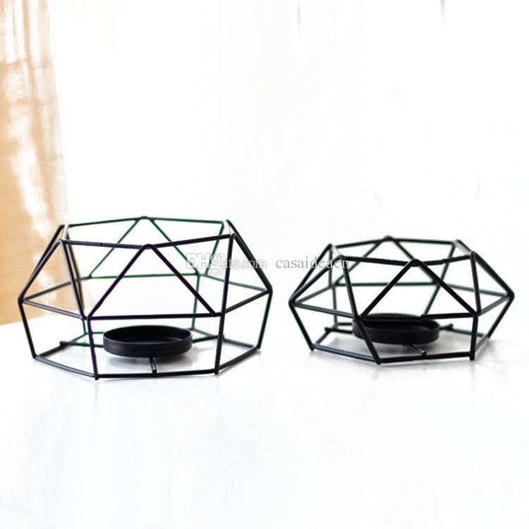 Negro alambre geométrica vela votiva Bloque de Soporte de Hierro luz del té titular moderna minimalista decoración Pequeño Grande