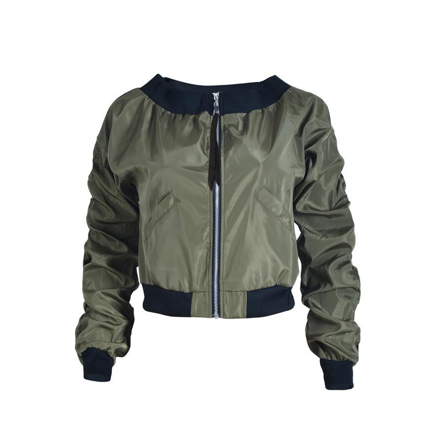 Primavera Womens Casual Jackets Preto Verde Ladies Alças bloco bolso com zíper frontal Levante Brasão Collar Jacket manga comprida Básico Outwear