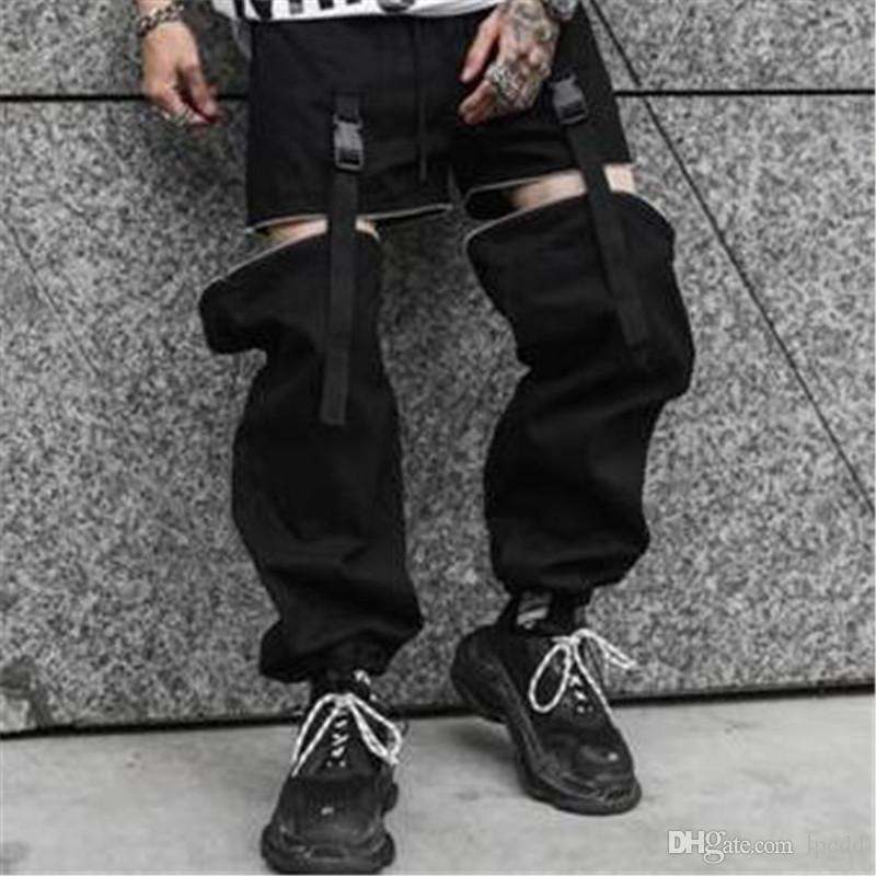 streetwear suelta el punk hip hop pantalones de los hombres de la personalidad desmontable con cremallera pantalones negros hombres pantalones tácticos para hombre pantalones de chándal ropa de gimnasia