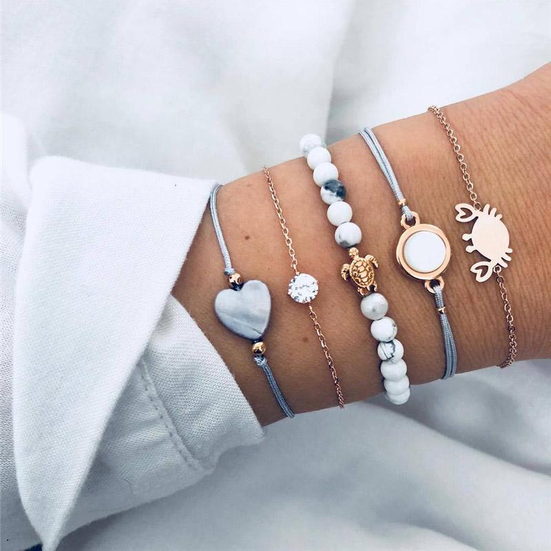 5Pcs / Set de Bohème Perles en mode vintage Bracelets crabe tortue de coeur Bracelets Bangles Sets pour les bijoux femmes