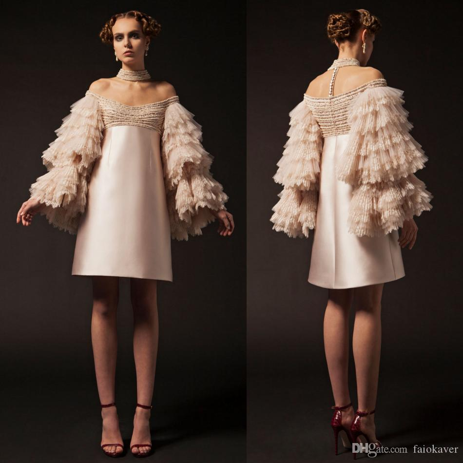 2019 Krikor Jabotian Short Prom Dresses Off The Shoulder Knee Length Long Sleeve Cocktail Party Gowns Tiered Lace Beads Evening Dress