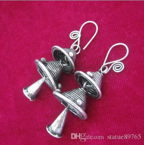 Jewelryr inci küpe ulusal rüzgar retro küpe çin giyim aksesuarları el yapımı fidanları gümüş çan küpe ücretsiz kargo