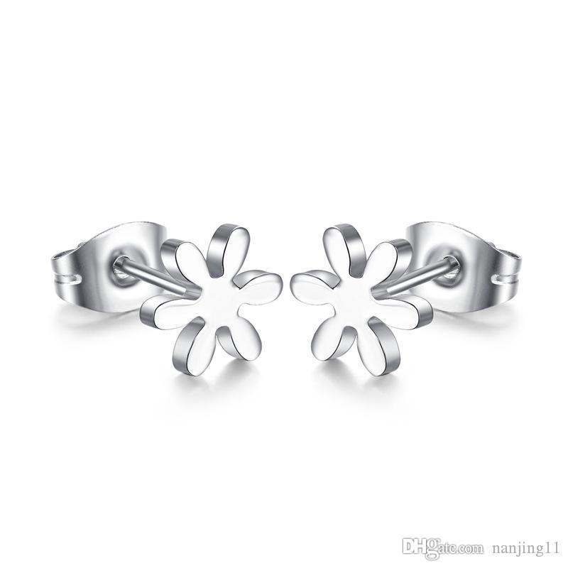 New Cute flower stud earrings for women silver plated stainless steel ear jewelry ES-054
