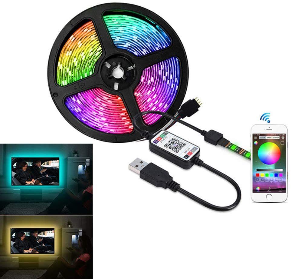 LED Şerit Işık, DC5V Bluetooth Kontrol RGB SMD5050 30 LEDS / M LED USB Renkli Senkronizasyon TV Arka Işık için Müzik Zamanlayıcı Esnek Arka Işık Kiti