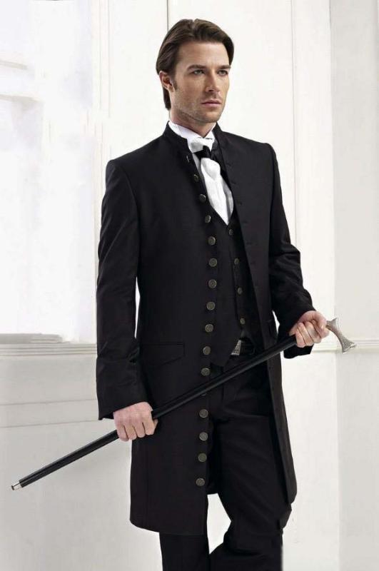 Lastest Schwalbenschwanz Mantel Viele Buttons Schwarz Cool schöner Mann-Klagen Hochzeit Prom Blazer Terno Slim Fit (Jacket + Pant + Vest)
