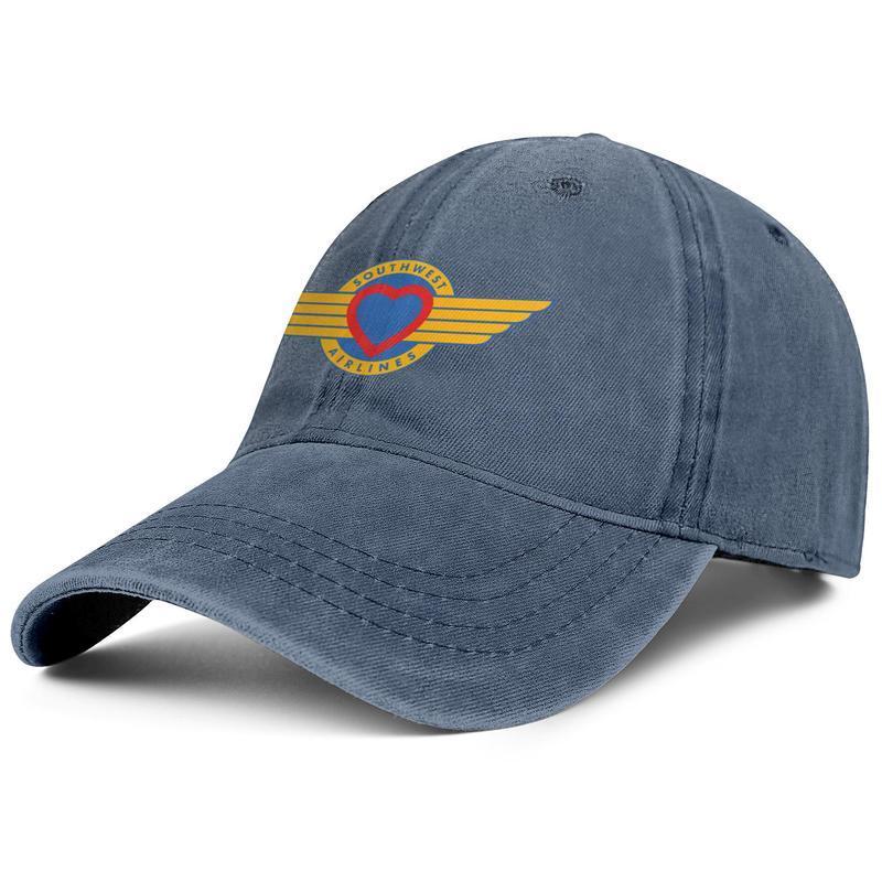 Şık Southwest Havayolları Unisex Denim Beyzbol şapkası Tasarım kendi Trendy Şapka Rapid SANAL Havayolu sembol logosunu Moe Grill Ödül