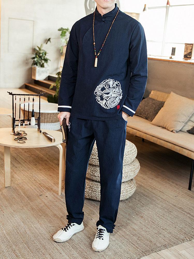 2019 новые мужские китайские наборы 2 шт. наборы (рубашка+брюки) мужской Весна повседневная Кунг-Фу костюмы Мужская одежда костюм рубашки брюки