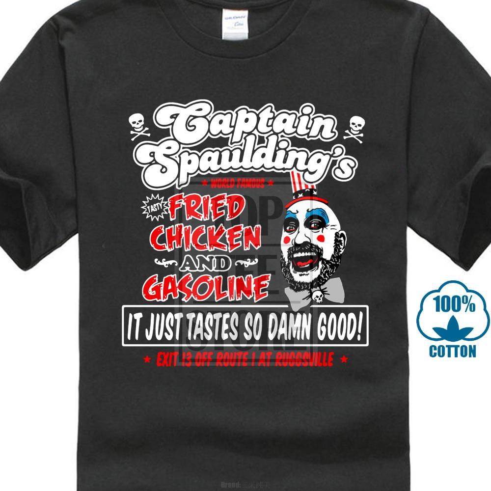 Captain Spauldings Fried Chicken Men Черная футболка Роб Зомби Дьявол отвергает футболку Модная футболка с коротким рукавом