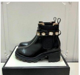 Venta caliente de otoño-invierno nuevo estilo de zapatos de tacón alto botas del tobillo de las mujeres de cristal grueso cargadores de Martin negro