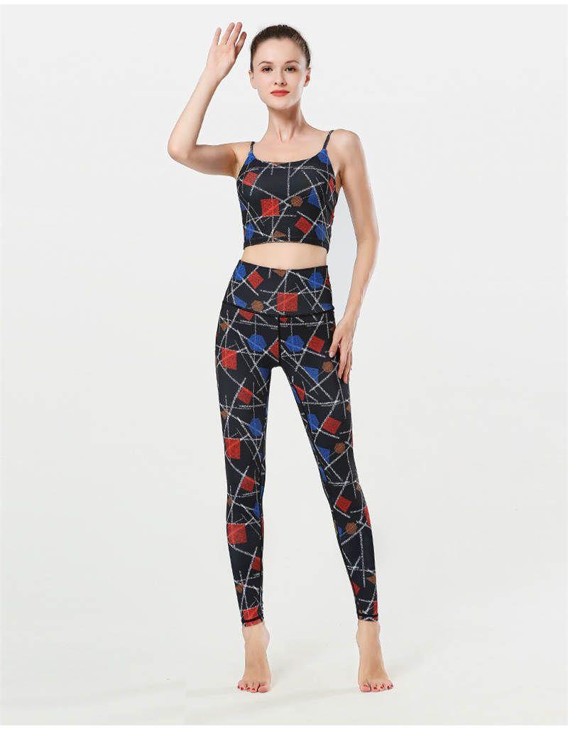 Donne Designer Suit Yoga fitness vestiti di estate di Prined sport di yoga del reggiseno vestiti sottili respirabili Pants + Tops