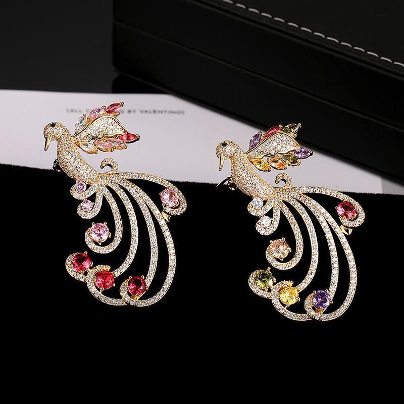 Элегантный очаровательный свадебный корсаж ювелирные изделия для женщин новая мода птица Феникс броши булавки позолоченная брошь с CZ камнем оптом