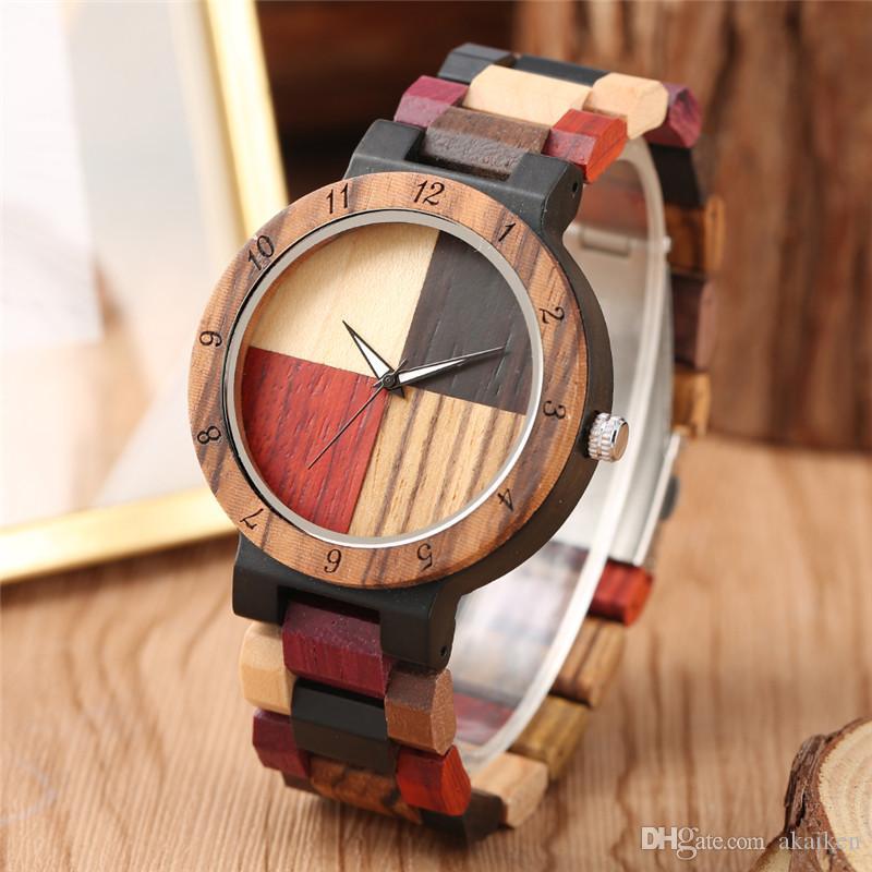 Hecho a mano de lujo Pareja de madera natural del reloj para mujer para hombre del reloj de cuarzo analógico Display clásico Relojes de bambú multicolor Pulsera de madera
