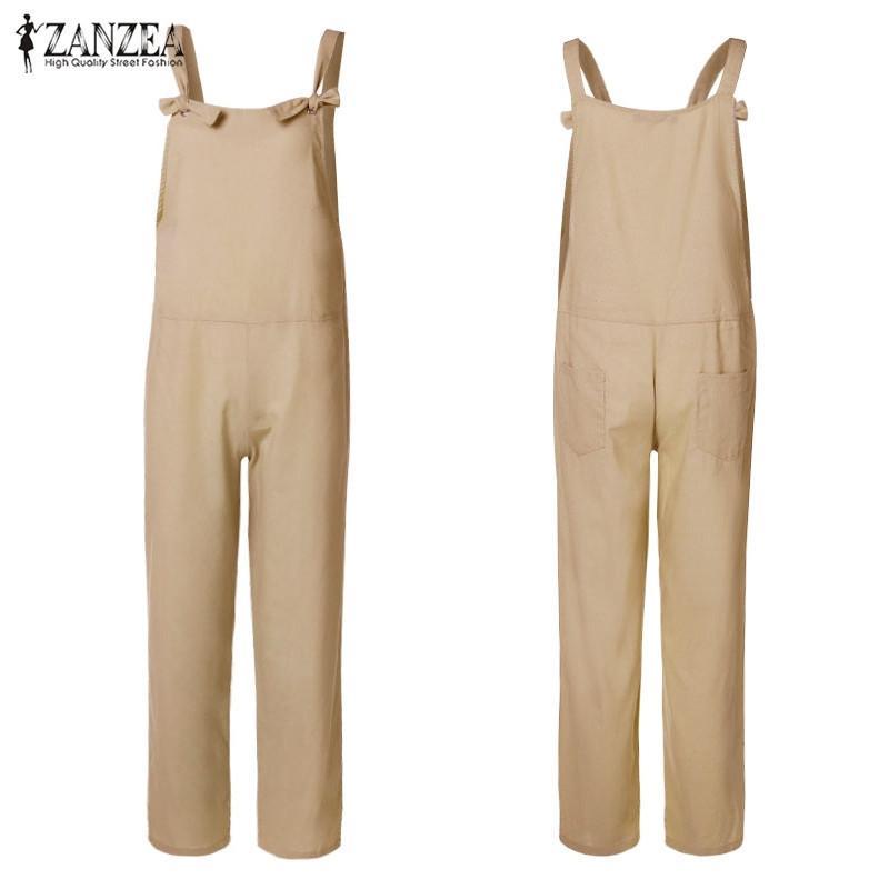 Plus Size Combinaison Femme Bib Macacões Macacões 2019 Zanzea Backless Macacão Playsuit Harem Pants Femininos Pantalon 5xl MX190726