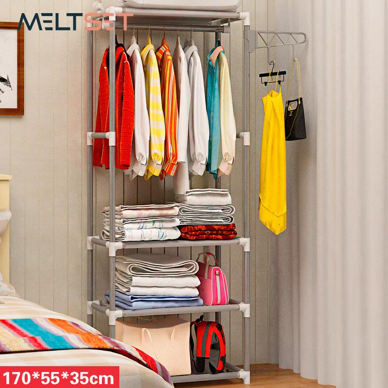 Simple Assembly Coat Rack Stainless Steel Clothes Hanger Non-woven Fabric Shoes Rack Handbag Organizer Bedroom Storage Holder SH190918