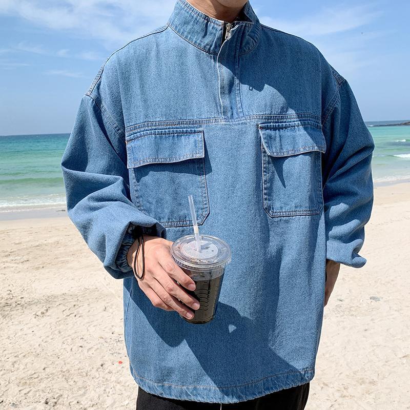 Autumn New Pullover Denim Jacket Men Fashion Wash Solid Color Stand Collar Denim Jacket Streetwear Hip Hop Loose Bomber Jacket DT191030