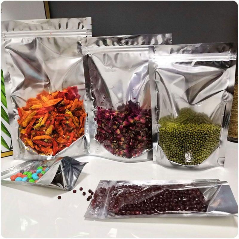 Майларовые Сумки Resealable Встаньте сумки многоразового использования для хранения продуктов Алюминиевая фольга Мешочек Сумки для кофе в зернах Cookie Закусочная сухоцветов чай D0901