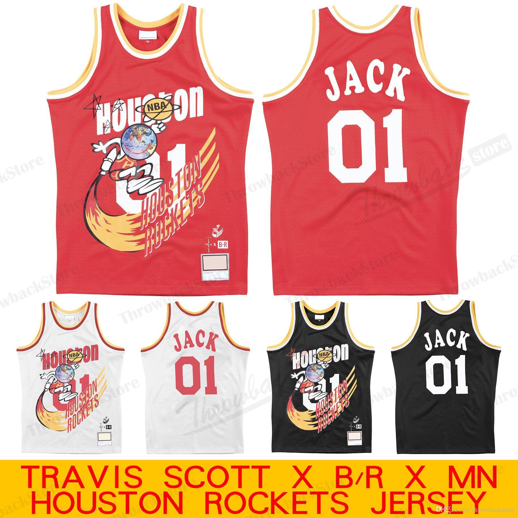check out d2934 07cb1 2019 Travis Scott X Br X Mn Rockets Jersey Houston 01 Jack Black Red White  Basketball Jerseys From Throwbackstore, &Price;   DHgate.Com