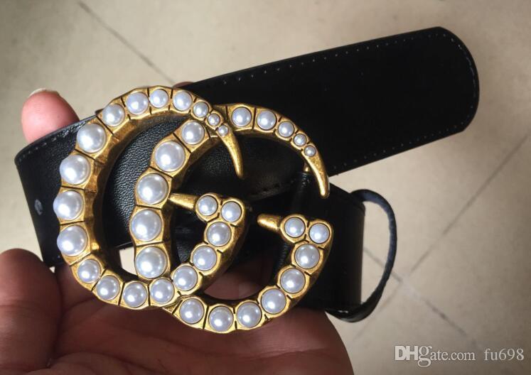 Hot 2018 Fashion Business Design Ceinture Ceintures de perles 3.8cm femmes Riem avec de l'or Z boucle de ceinture noire avec la boîte comme cadeau 62vb