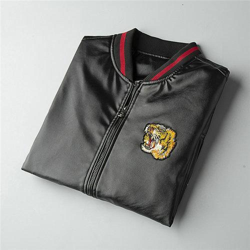 Mus2 Erkek Ceket Siyah Fermuar İnce Kovboy Gevşek Coat erkek deri ceketler 09021