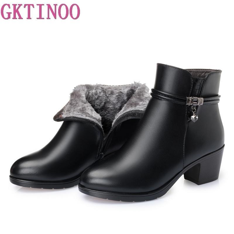 GKTINOO 2020 NOVO Moda suave couro Mulheres Botas Salto Alto Zipper sapatos quentes Fur Botas de Inverno para mulheres Plus Size 35-43 T200520
