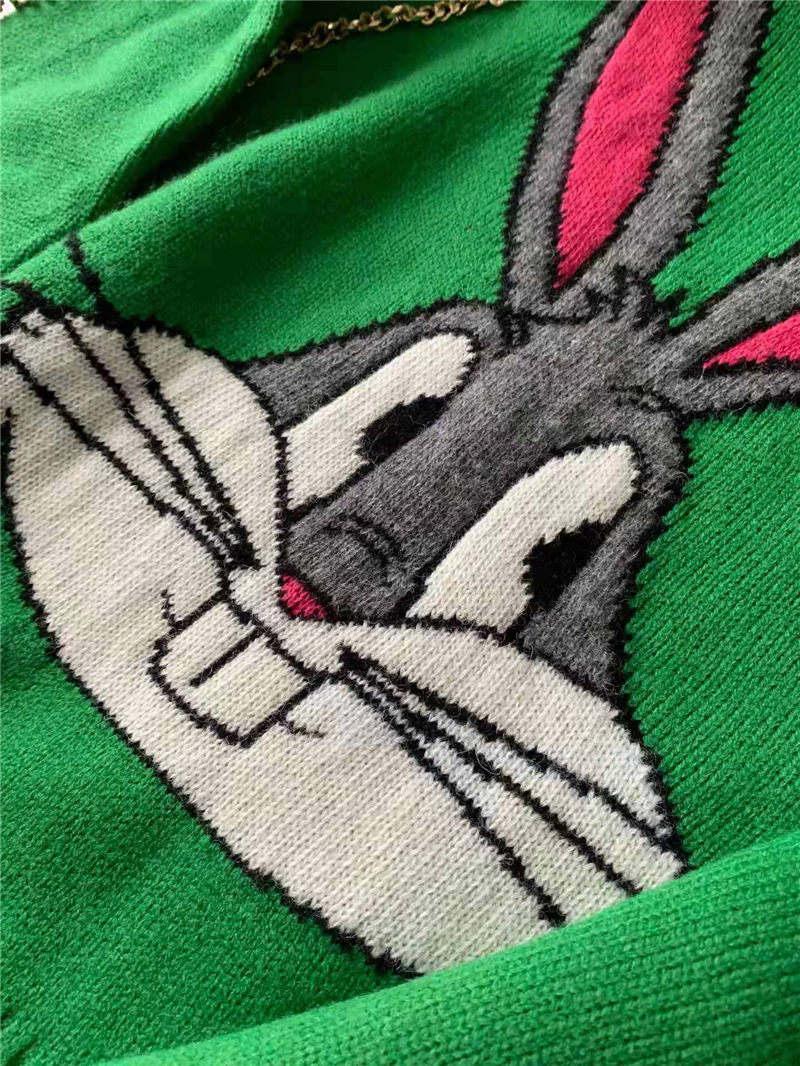 أزياء مصمم سترة رقيقة من الصوف نمط فام هوديي البلوز العلامة التجارية سيدة هوديي 2019 الأرانب نمط نمط فاخر أعلى الدافئة سترة 001