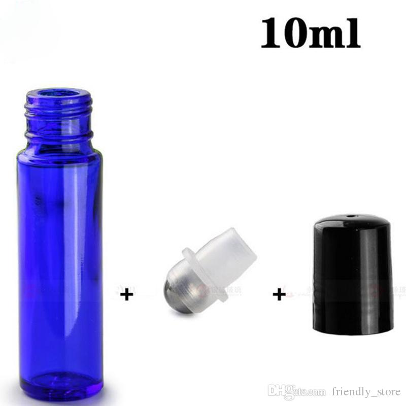700pcs Lot 10ml Blue Glass Roll on Bottles Empty Essential Oil Roller Bottles With Metal Roller Ball And Black Silver Cap For Sale