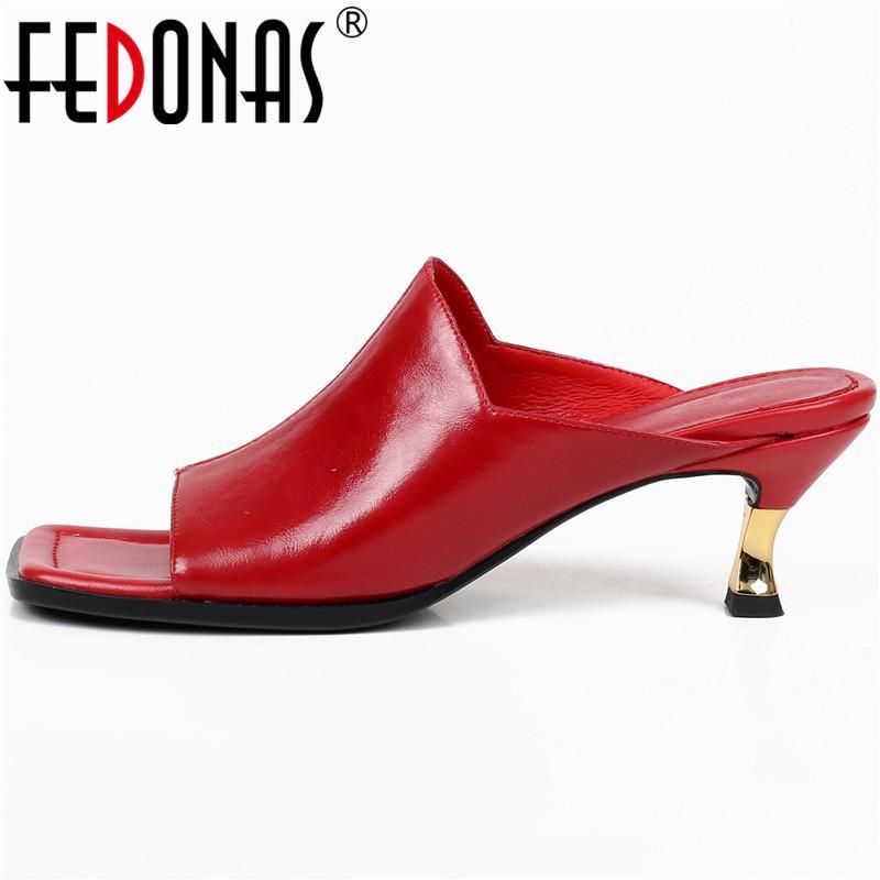 FEDONAS sandalias de verano de cuero genuino para mujer 2020 verano conciso tacones altos bombas elegantes Sexy Peep Toe zapatos de boda Mujer