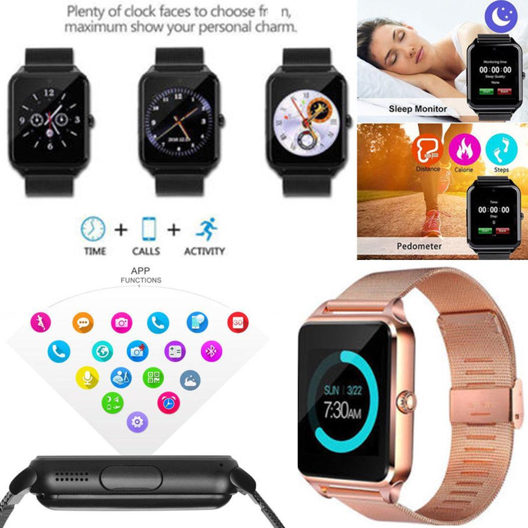 Bluetooth Smart Bracelet Smart Watch Camera Waterproof Phone Z60 Smartwatch Stainless Steel for IOS Android With Retail Box