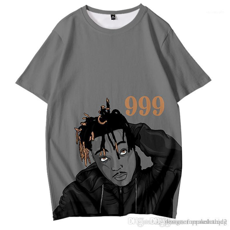 3D Imprimir Summer manga curta O Neck Rapper Adolescente Tops Casual Designer Male Tees Juice Designer WRLD Homens Camisetas