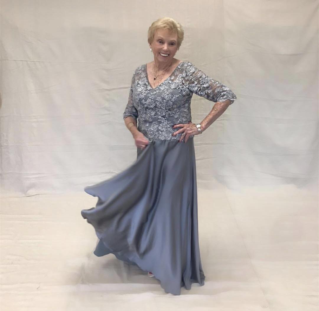 Vestidos largos de color gris plateado de la madre de la novia Media manga de encaje Top de la madre del novio Trajes de invitados a la boda Vestidos de fiesta formales de noche