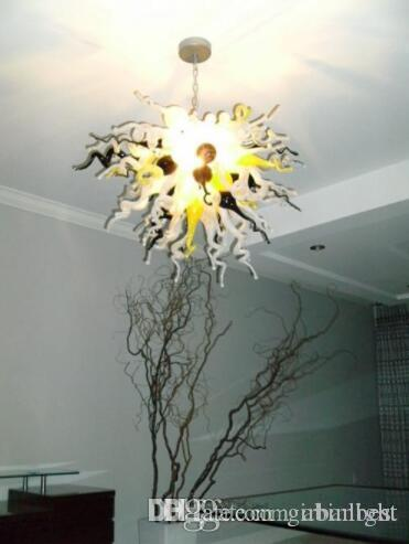 Mão Blown Cadeia Murano Vidro Chandelier LED AC 110V -240V Modern Crystal Hotel decorativa Estilo de vidro Lustre Luz