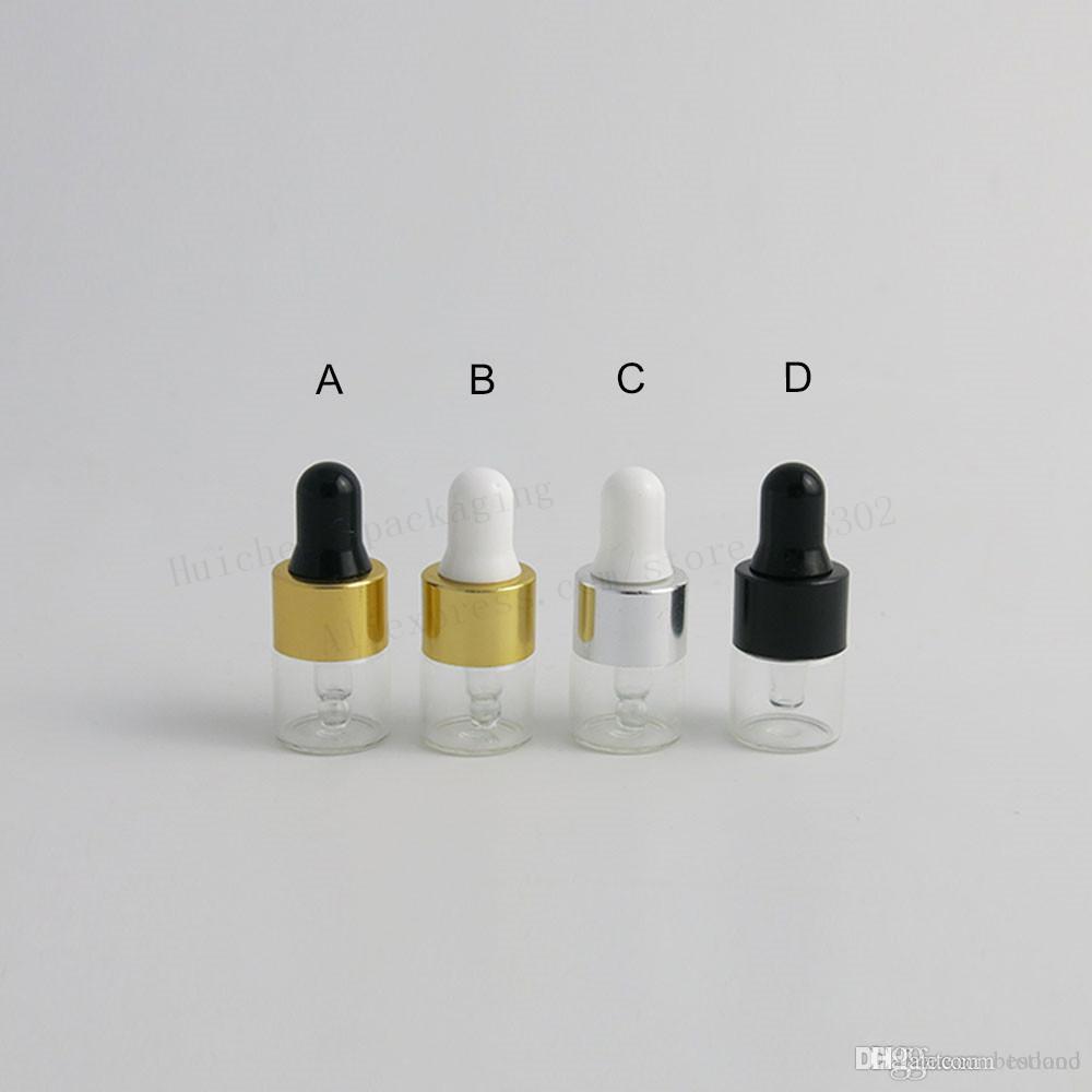 1000 x 1ML 작은 유리 dropper 병 에센셜 오일 향수 작은 휴대용 튜브 1 CC 미니 향수 드롭 컨테이너