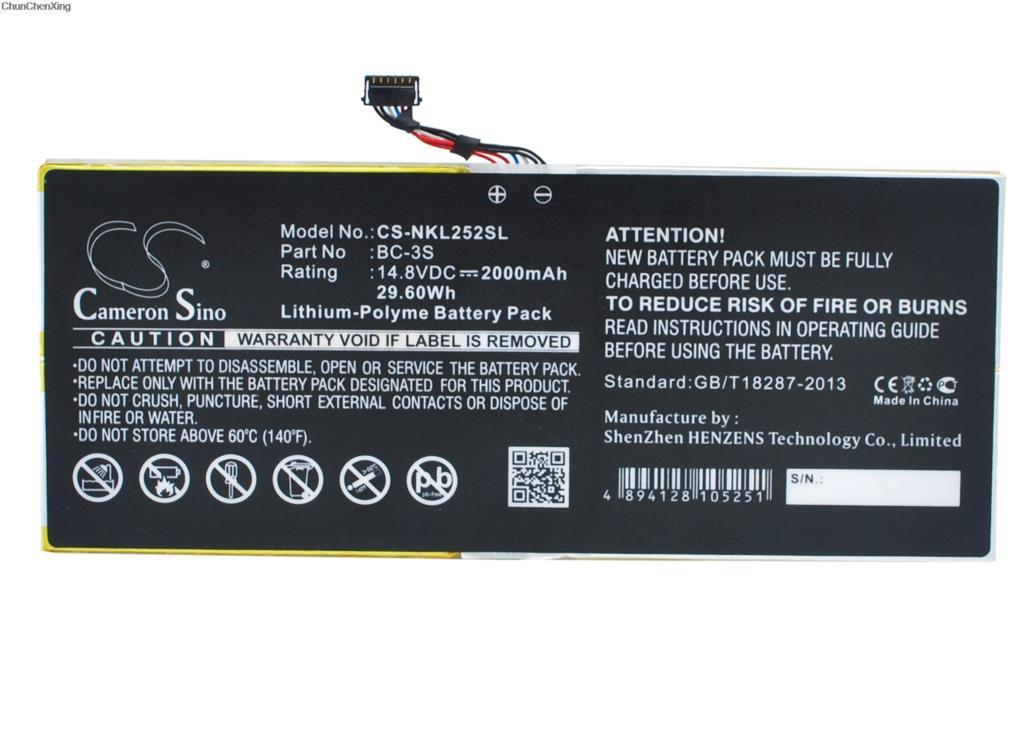 Cameron Sino 2000mAh Bateria BC-3S para Nokia Lumia 2520