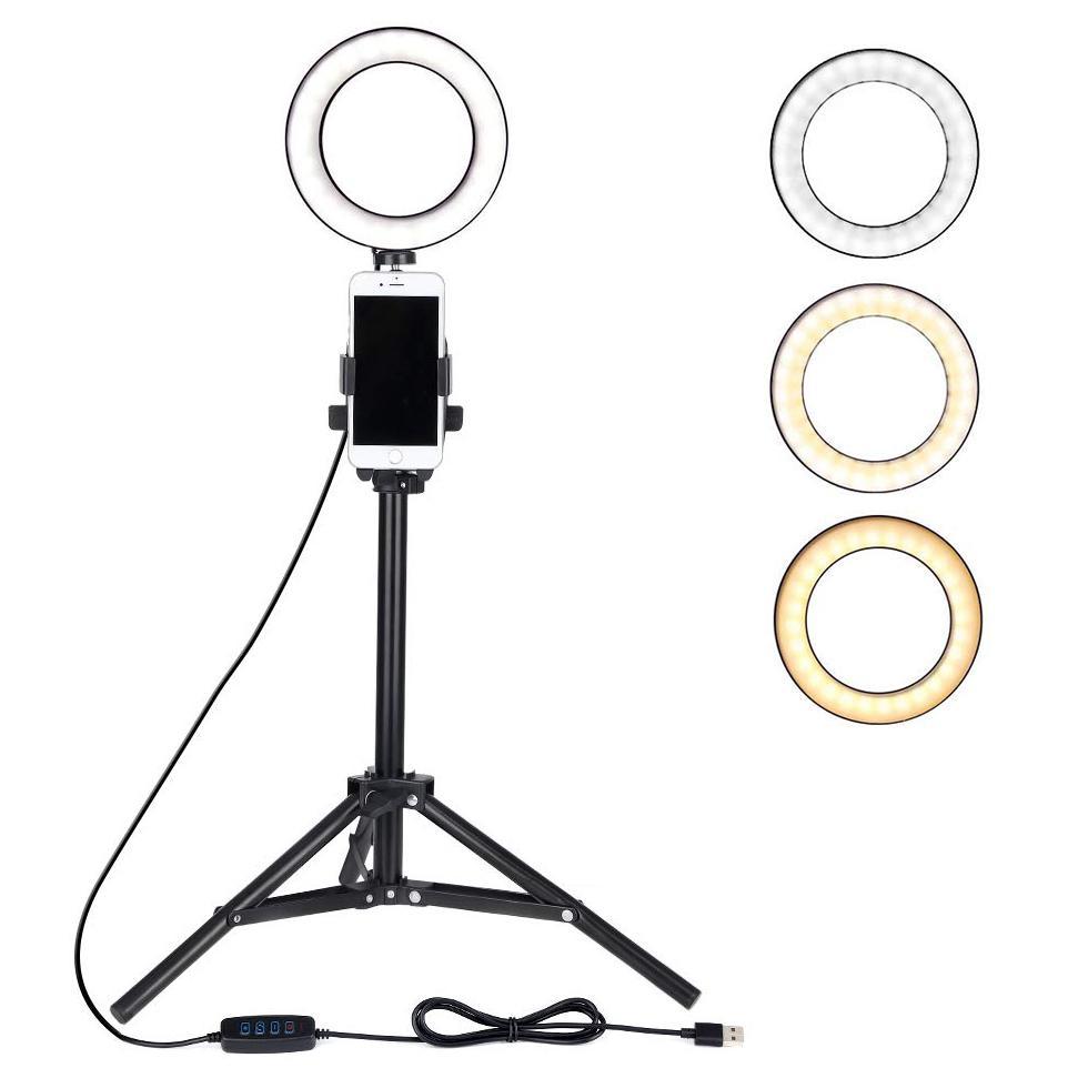 مصغرة ضوء الكاميرا أدى مع حامل الهاتف الخليوي مصباح LED سطح المكتب