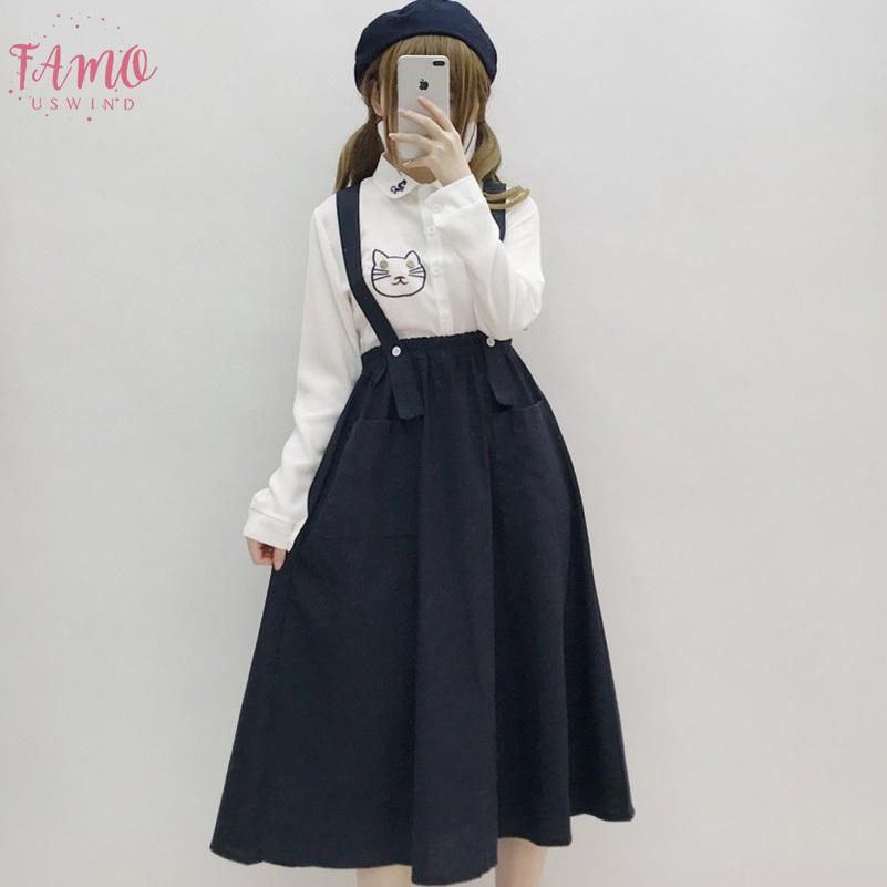 Japan Preppy Style Women Navy Blue Sundress Suspenders Pockets Long Sleeveless Dress Mori Girl Elegant School Uniform Cute Dress