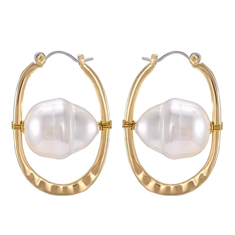 Personalized New Fashion Top Irregular Freshwater Pearl Hoop Earrings Bridal Wedding Earringsearrings Valentine Birthday Gifts For Women