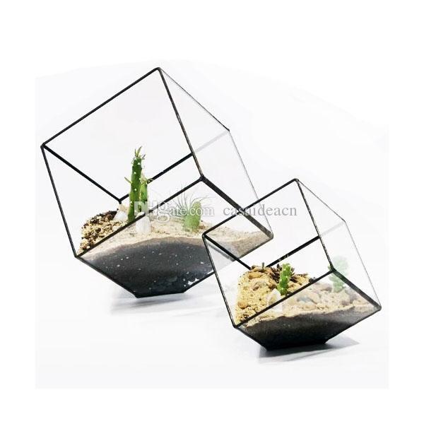 Modern Inclined Cube Succulent Terrarium Creative Geometric Fern Moss Glass Planter Wardian Case Flower Pot Container Black Gold