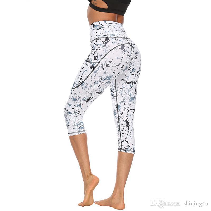Mode gris exercice Porter hypersustentateurs taille Activewear Butts Fitness Shorts Pirate avec des leggings de yoga de poche femmes de Tenues Floral Yoga Imprimer