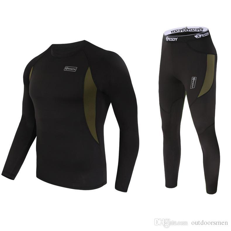 ESDY тактический термобелье комплект флис костюм военные теплые мужчины Термо пуловер с длинным рукавом зима быстро сухой корсеты черный