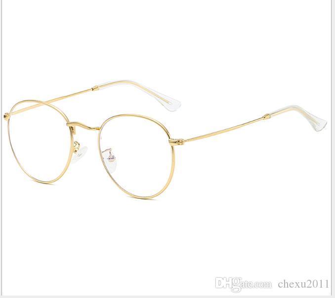 Flat Mirror Myopic Mirror Metal Frame Open-Ball Elliptic Glasses for Men and Women