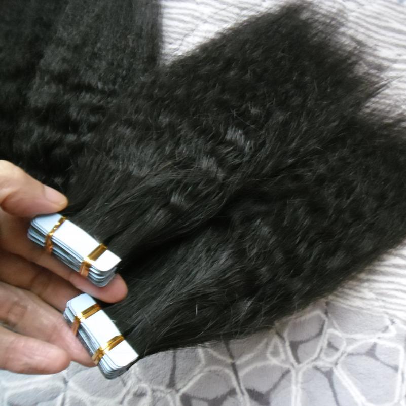 Prolunghe per capelli a nastro grosso Yaki 200g Prolunghe per capelli a nastro in pelle 80 pezzi Kinky Nastro dritto per estensioni di capelli umani
