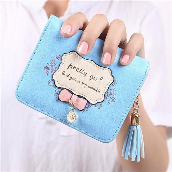 новый кожаный бумажник моды для женщин бумажники и кошельки Женский Zipper Короткие Малые кисточки Кредитные карты Lady