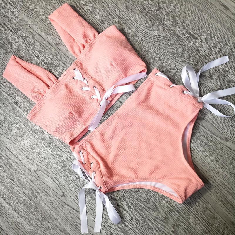 2019 verano Sweety Women's High Cintura Swimsuit Bikini Hollow Swimwear Girls Sexy Vendaje Swim Desgaste Cruz Baño Trajes de baño Dos pieidades DDKJH
