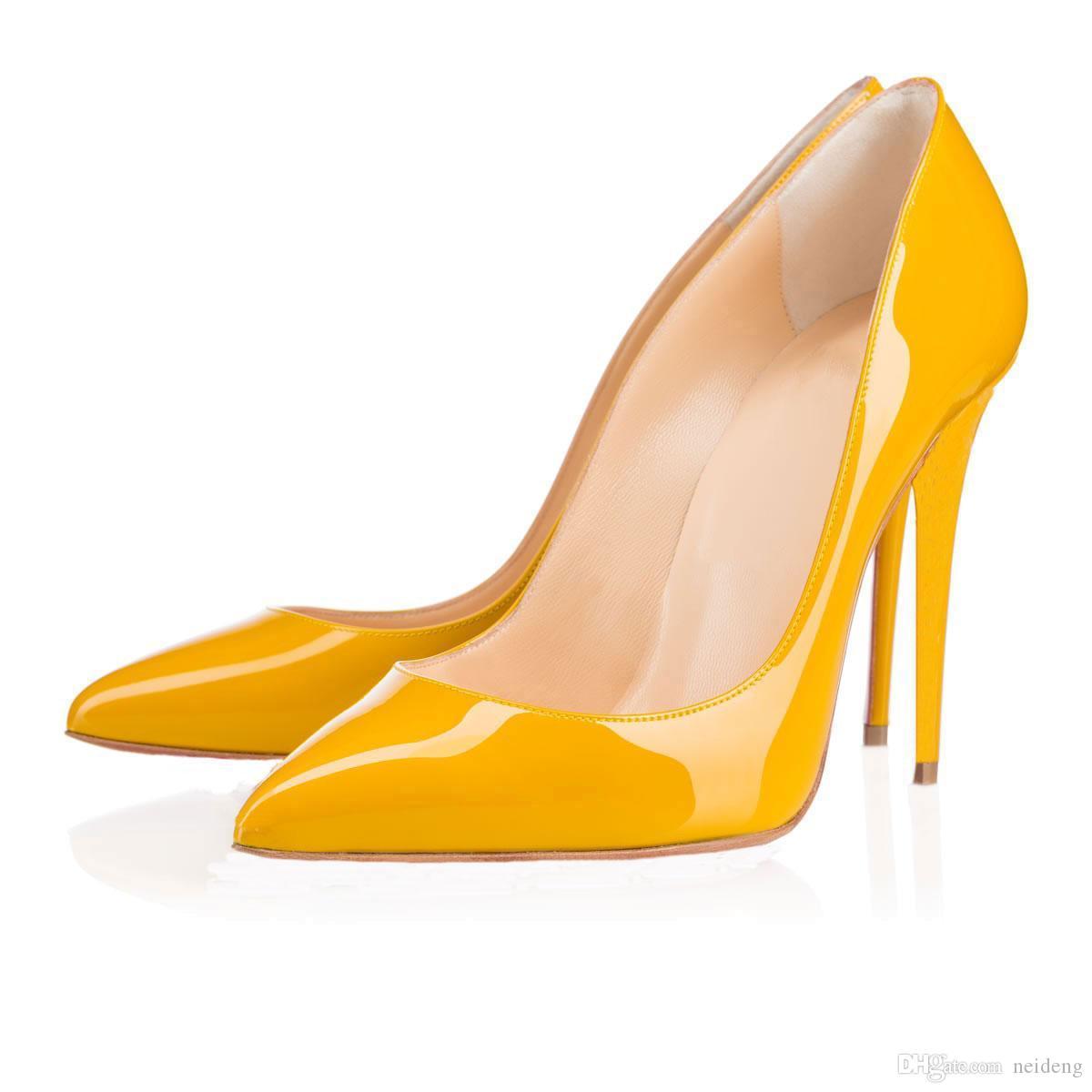 Sıcak satış-2019 Moda lüks tasarımcı bayan ayakkabı yüksek topuklu 8 ile 10 cm 12cm Nü siyah, kırmızı deri Sivri Ayak parmakları dipleri Elbise ayakkabı pompaları