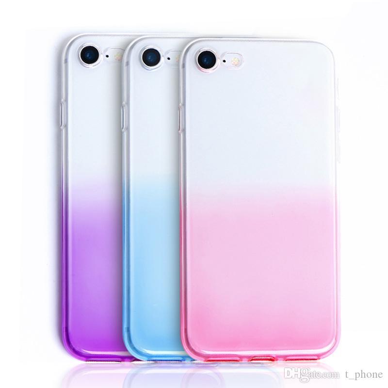 Для Iphone 8 Plus XS Max Gradient Aurora Color Intrigue Защита от падения TPU случая сотового телефона Свободная DHL